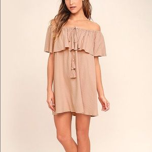 LULUS Melodic Blush Off-the-Shoulder Shift Dress